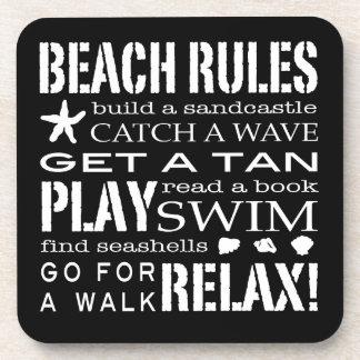 Reglas de la playa por el negro y el blanco gráfic posavasos