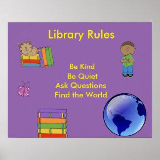Reglas de la Poster-Biblioteca de la sala de clase Póster