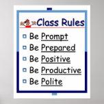 Reglas de la sala de clase: 5 p póster