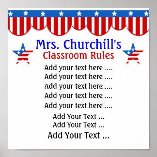 Reglas de la sala de clase del profesor de escuela impresiones