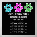 Reglas de la sala de clase del profesor de escuela posters