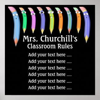 Reglas de la sala de clase del profesor de escuela póster