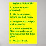 Reglas de la sala de clase posters