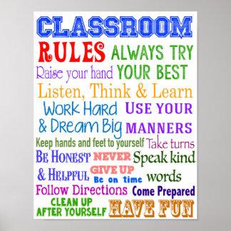 Reglas de la sala de clase, regalo del profesor, póster