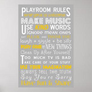 Reglas de la sala de juegos póster