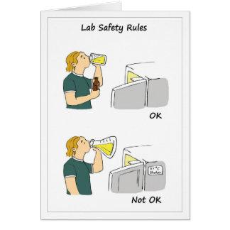 Reglas de la seguridad del laboratorio tarjeta de felicitación