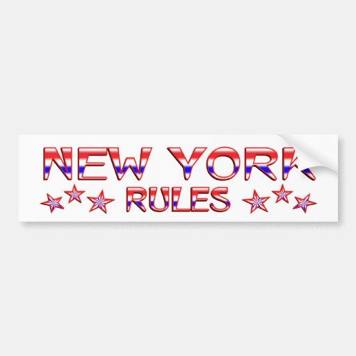 Reglas de Nueva York Pegatina Para Auto