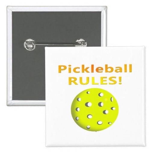 ¡Reglas de Pickleball! Con el texto amarillo de la Pin Cuadrada 5 Cm