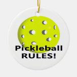 ¡Reglas de Pickleball! Con el texto amarillo del n Ornamentos De Navidad