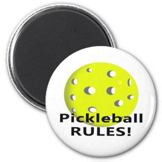 ¡Reglas de Pickleball! Con el texto amarillo del n Imán Redondo 5 Cm