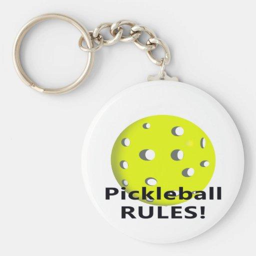 ¡Reglas de Pickleball! Con el texto amarillo del n Llaveros