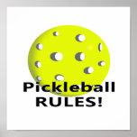 ¡Reglas de Pickleball! Con el texto amarillo del n Poster