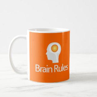 ¡Reglas del cerebro! Taza principal gris del blanc