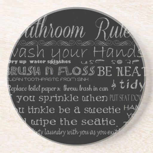 Reglas del cuarto de baño posavasos cerveza