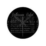 Reglas del cuarto de baño reloj de pared
