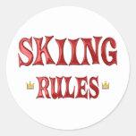 Reglas del esquí pegatina redonda