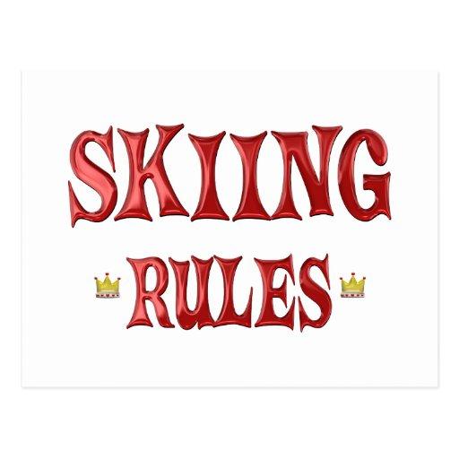 Reglas del esquí tarjeta postal