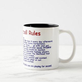 Reglas del fútbol de la fantasía taza de café de dos colores