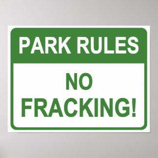 Reglas del parque - ningún Fracking Póster