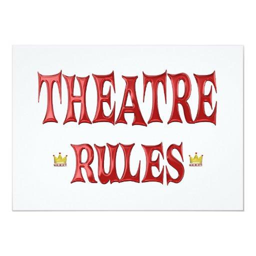 """Reglas del teatro invitación 5"""" x 7"""""""