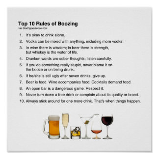 Reglas del top 10 de emborrachar póster