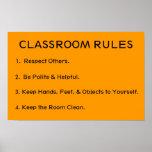 Reglas elementales de la sala de clase posters