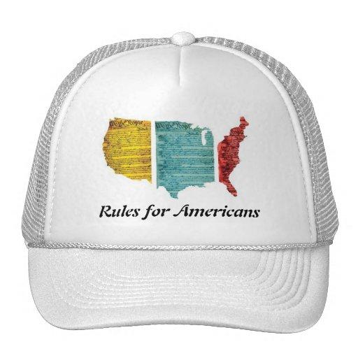Reglas para el logotipo de los E.E.U.U. del casqui Gorros