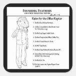 Reglas para el rapaz de la oficina pegatina cuadradas personalizada