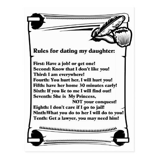 Reglas para fechar a mi hija postal