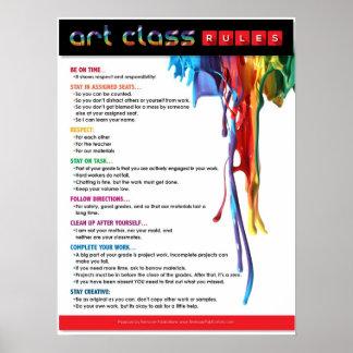 Reglas para la sala de clase del arte póster