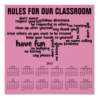 Reglas para nuestro calendario de la sala de clase impresiones