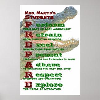Reglas/pautas de la sala de clase póster
