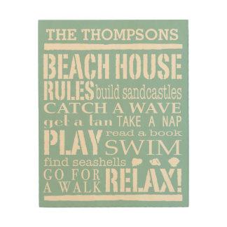 Reglas personalizadas de la casa de playa de la fa cuadros de madera