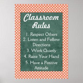 Reglas rojas y blancas de la sala de clase de los póster