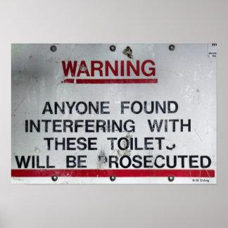 Reglas y advertencia del retrete del cuarto de bañ poster