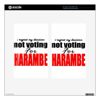 regret vote for harambe president protest notvotin skin for kindle fire