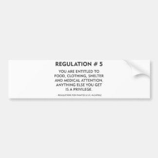 Regulación # 5 pegatina de parachoque