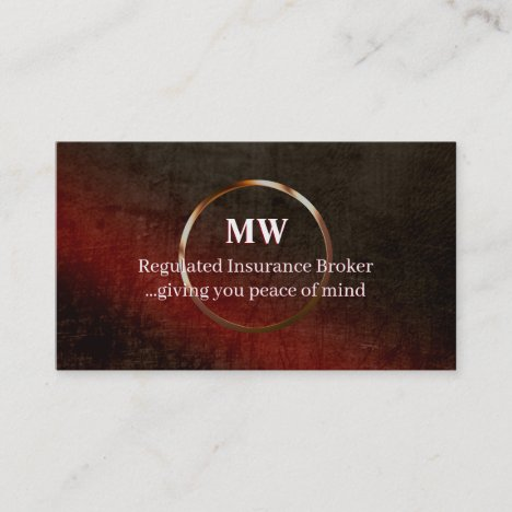Regulated Insurance, leather-effect, ring logo Business Card