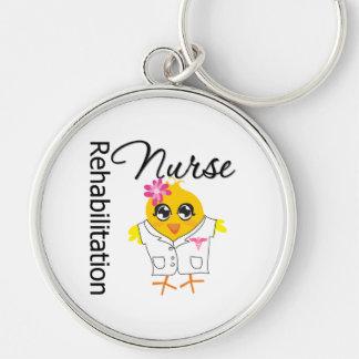 Rehabilitation Nurse Chick v2 Silver-Colored Round Keychain