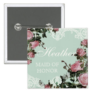 Rehearsal Bridal Party tags, Trellis Rose Vintage Pins