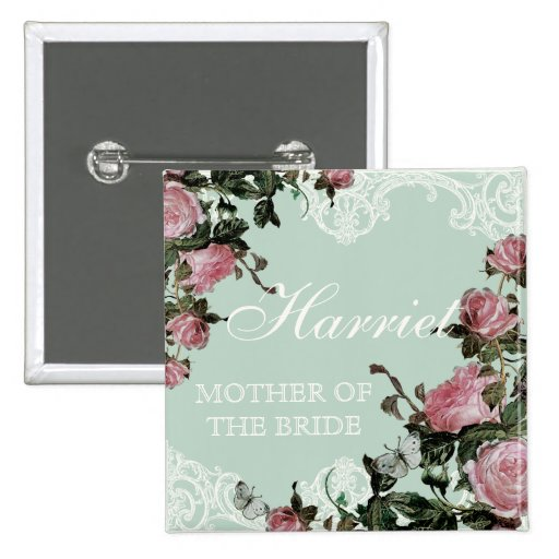 Rehearsal Bridal Party tags, Trellis Rose Vintage Pinback Buttons