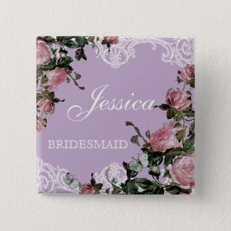 Rehearsal Bridal Party tags, Trellis Rose Vintage Button