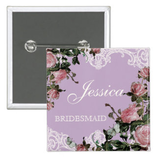 Rehearsal Bridal Party tags Trellis Rose Vintage Pinback Buttons