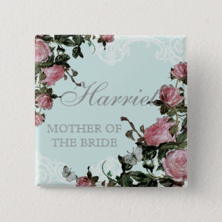 Rehearsal Bridal Party tags, Trellis Rose Vintage Button