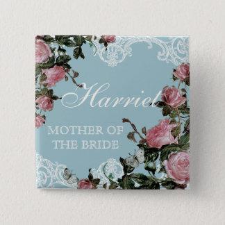 Rehearsal Bridal Party tags, Trellis Rose Vintage Pinback Button