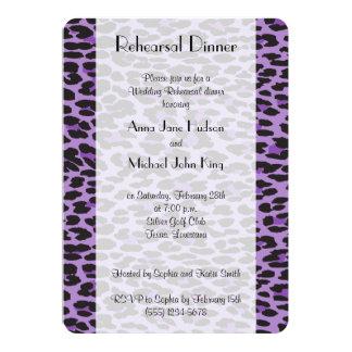Rehearsal Dinner - Animal Print, Leopard - Purple 5x7 Paper Invitation Card