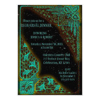Rehearsal Dinner | Art Deco Turquoise and Green Card
