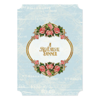 Rehearsal Dinner Art Nouveau Gold Glitter Roses Card