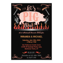 Rehearsal Dinner Barbecue BBQ Funny Pig Wedding Invitation