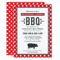Rehearsal Dinner BBQ | Red Gingham Black Pig Invitation